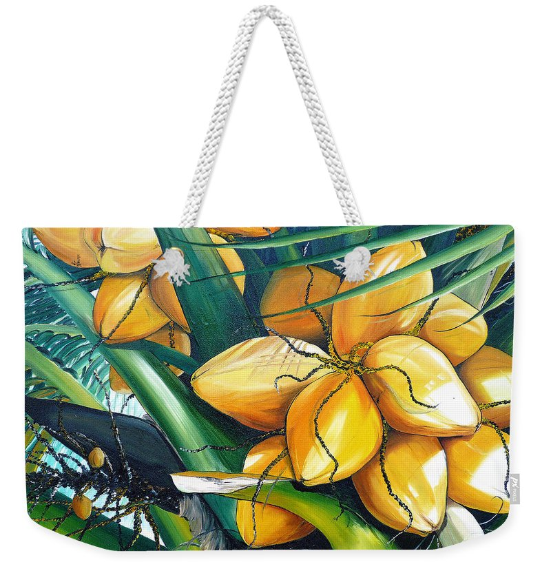 Coconut Painting Botanical Painting  Tropical Painting Caribbean Painting Original Painting Of Yellow Coconuts On The Palm Tree Weekender Tote Bag featuring the painting Yellow Coconuts by Karin Dawn Kelshall- Best