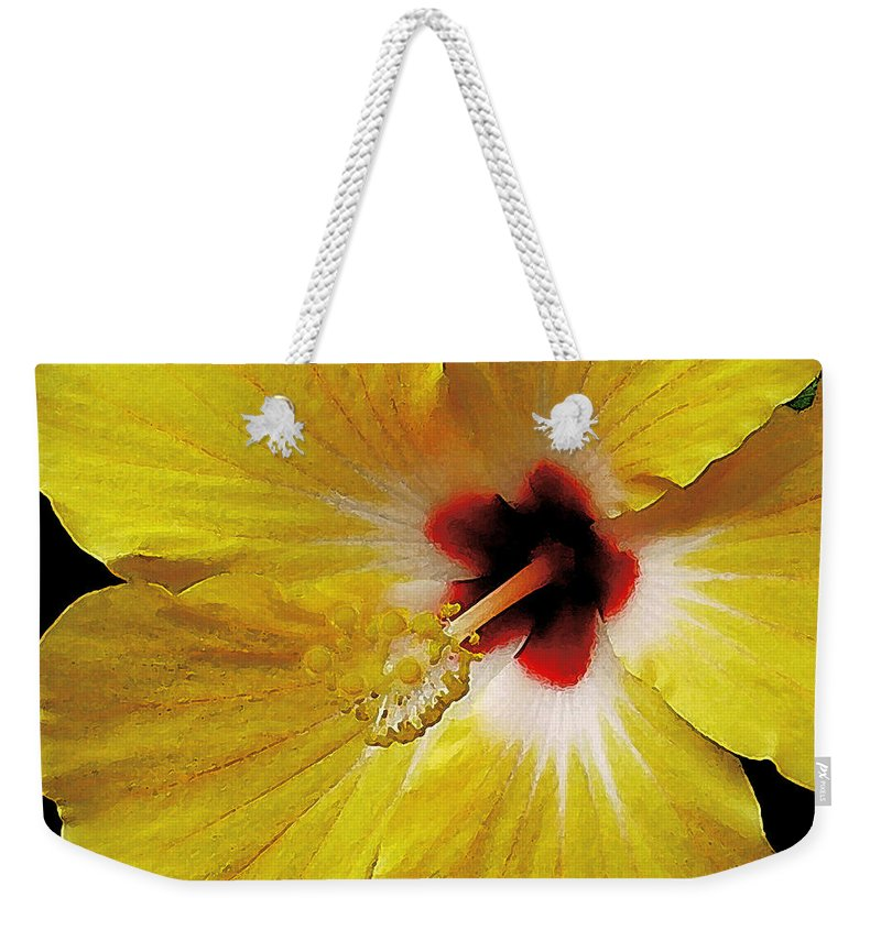 Hawaii Iphone Cases Weekender Tote Bag featuring the photograph Yellow Hibiscus With Red Center by James Temple