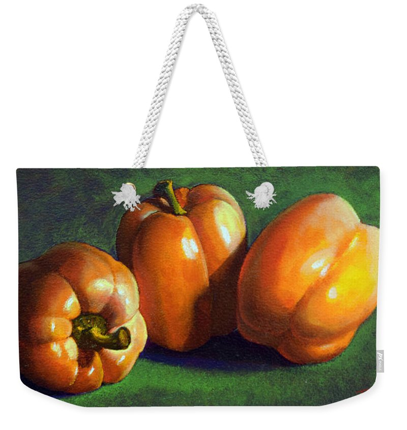 Yellow Peppers Weekender Tote Bag featuring the painting Yellow Peppers by Frank Wilson