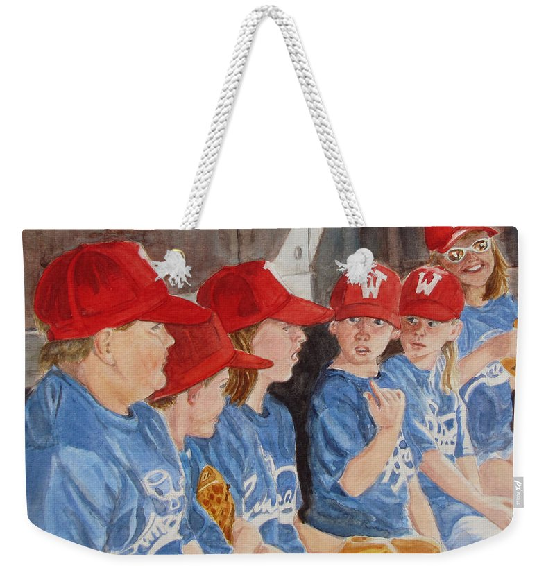 Kids Weekender Tote Bag featuring the painting Yer Up by Karen Ilari