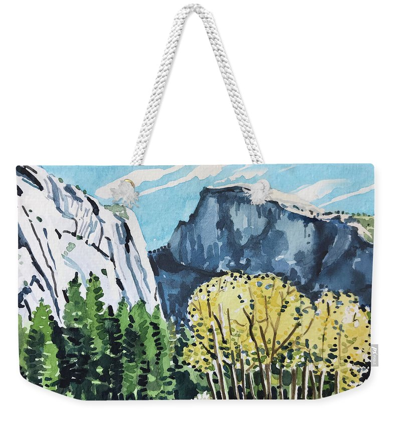 River Weekender Tote Bag featuring the painting Yosemite half Dome by Luisa Millicent
