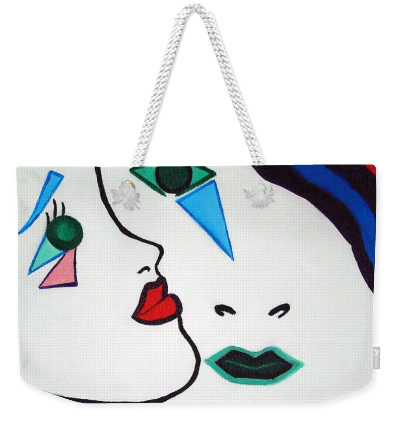 Pop-art Weekender Tote Bag featuring the painting You - I by Silvana Abel
