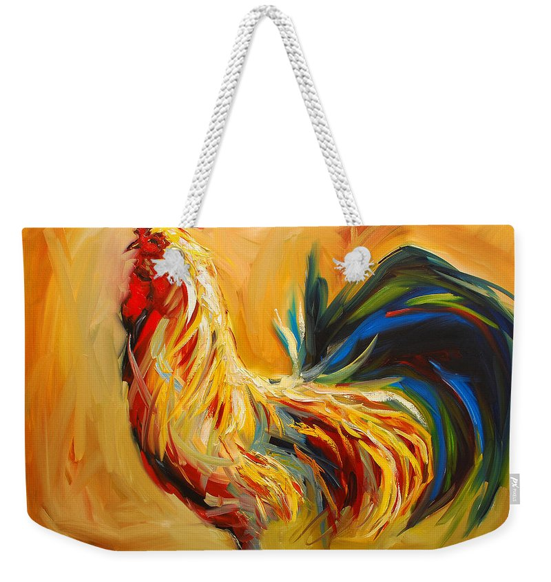 Painting Weekender Tote Bag featuring the painting Yummy Rooster by Diane Whitehead