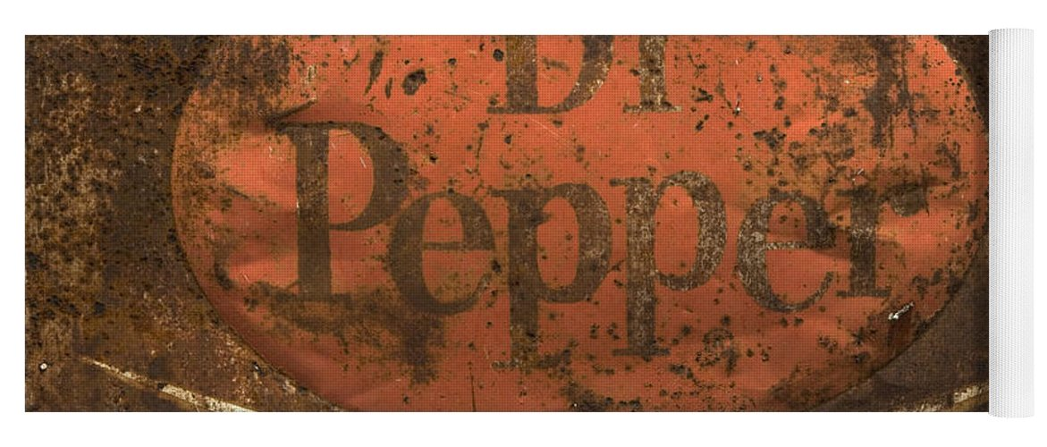 Dr Pepper Sign Yoga Mat featuring the photograph Dr Pepper Vintage Sign by Bob Christopher