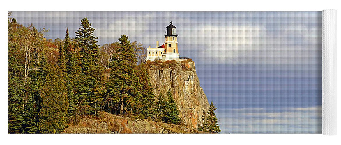 Split Yoga Mat featuring the photograph 0376 Split Rock Lighthouse by Steve Sturgill