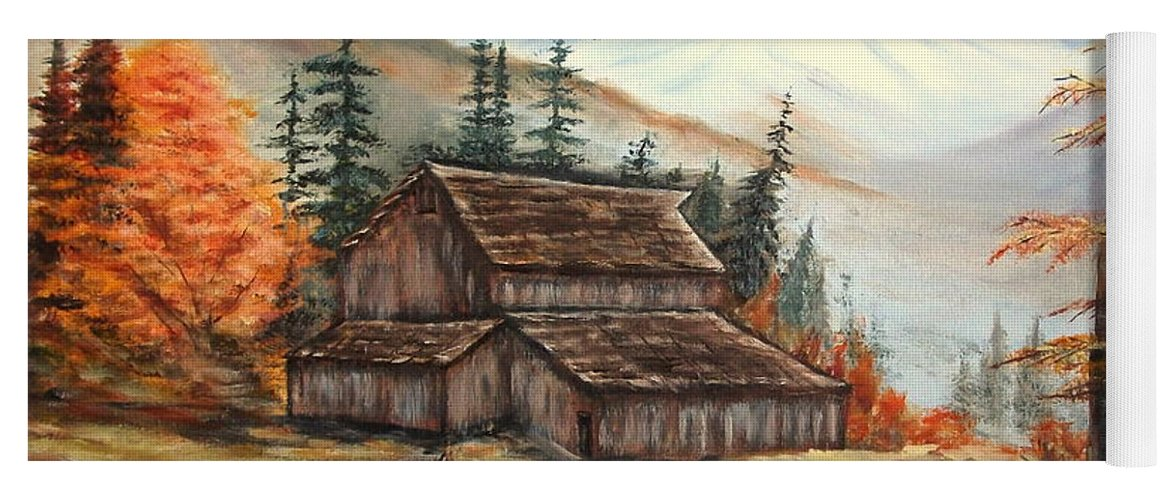 Landscape Yoga Mat featuring the painting Barn and wagon by Kenneth LePoidevin