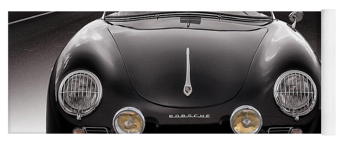 Porsche Yoga Mat featuring the photograph Black Porsche Speedster by Douglas Pittman