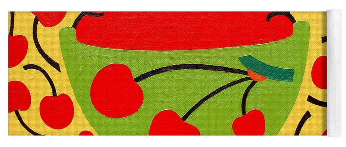 Bowl Of Cherries Yoga Mat featuring the painting Bowl Of Cherries by Patrick J Murphy