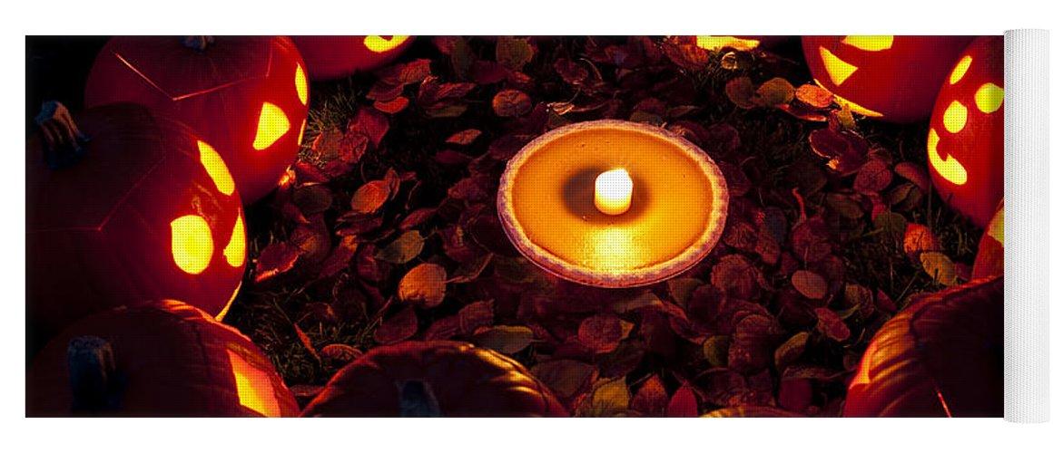 31st Yoga Mat featuring the photograph Pumpkin Seance With Pumpkin Pie by Jim Corwin