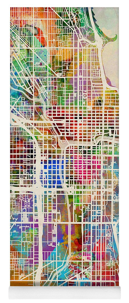 Chicago Yoga Mat featuring the digital art Chicago City Street Map by Michael Tompsett