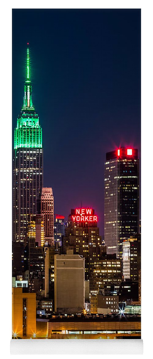 Ireland Yoga Mat featuring the photograph Empire State Building on Saint Patrick's Day by Mihai Andritoiu