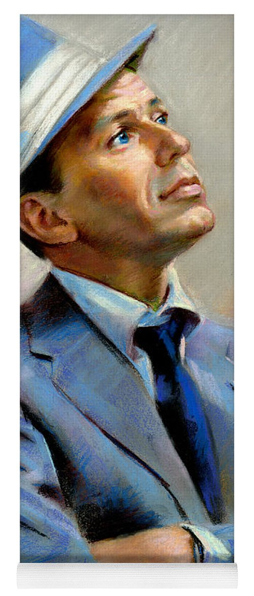 Francis frank Sinatra Yoga Mat featuring the pastel Frank Sinatra by Ylli Haruni