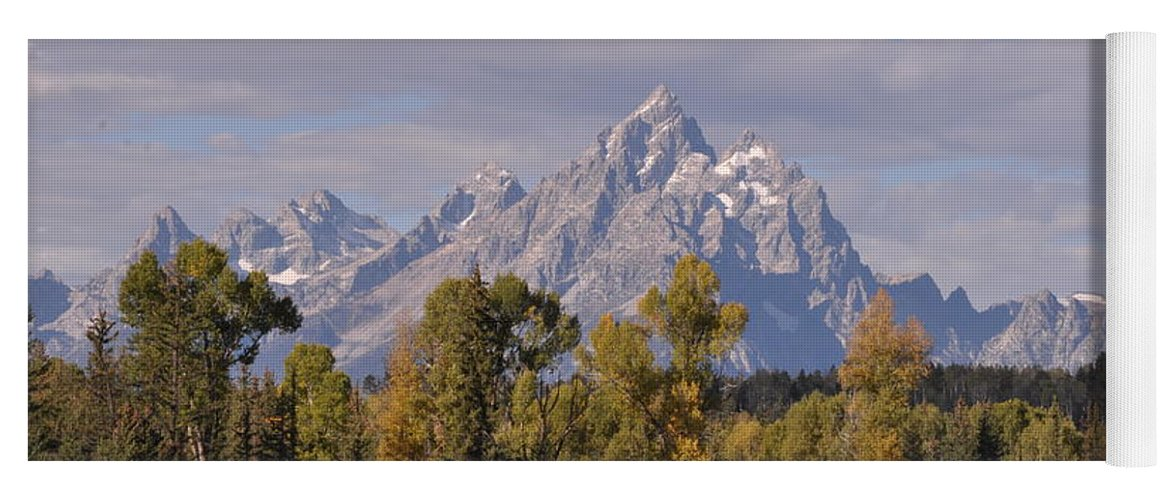 Mountain Yoga Mat featuring the photograph Grand Teton by Frank Madia