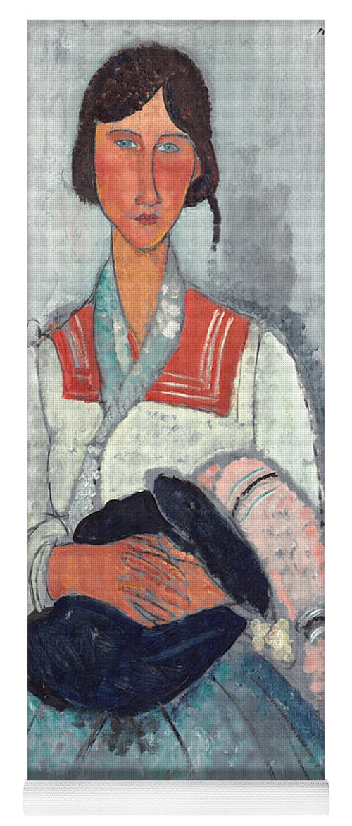 Sailor; Collar; Bobble; Hat; Scarf; Mother And Child; Portrait; Female Yoga Mat featuring the painting Gypsy Woman With Baby by Amedeo Modigliani