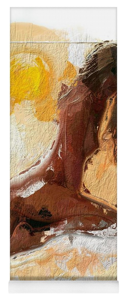 Girl Woman Nude Female Sexy Boobs Tits Curves Figure Sun Sunlight Abstract Portrait Expressionism Impressionism Beauty Erotic Colorful Heat Hot Butt Sensual Yoga Mat featuring the painting In The Heat Of The Sun by Steve K