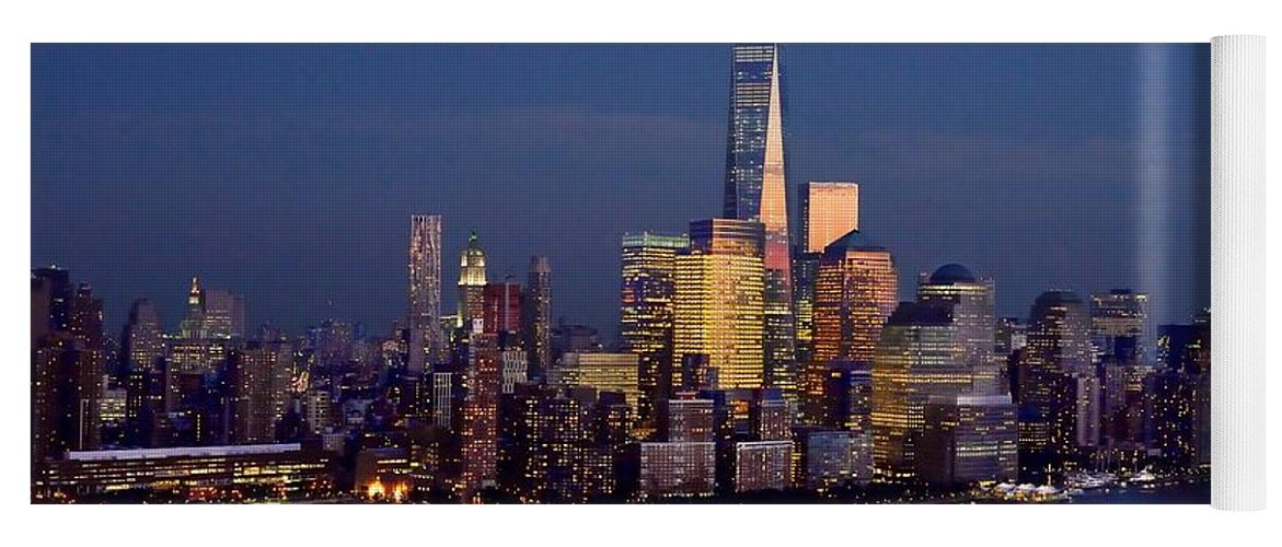 New York City Skyline Night Yoga Mat Featuring The Photograph New York City  Tribute In Lights