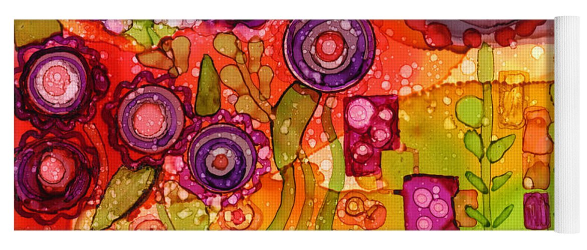 Abstract Yoga Mat featuring the painting Number I by Vicki Baun Barry