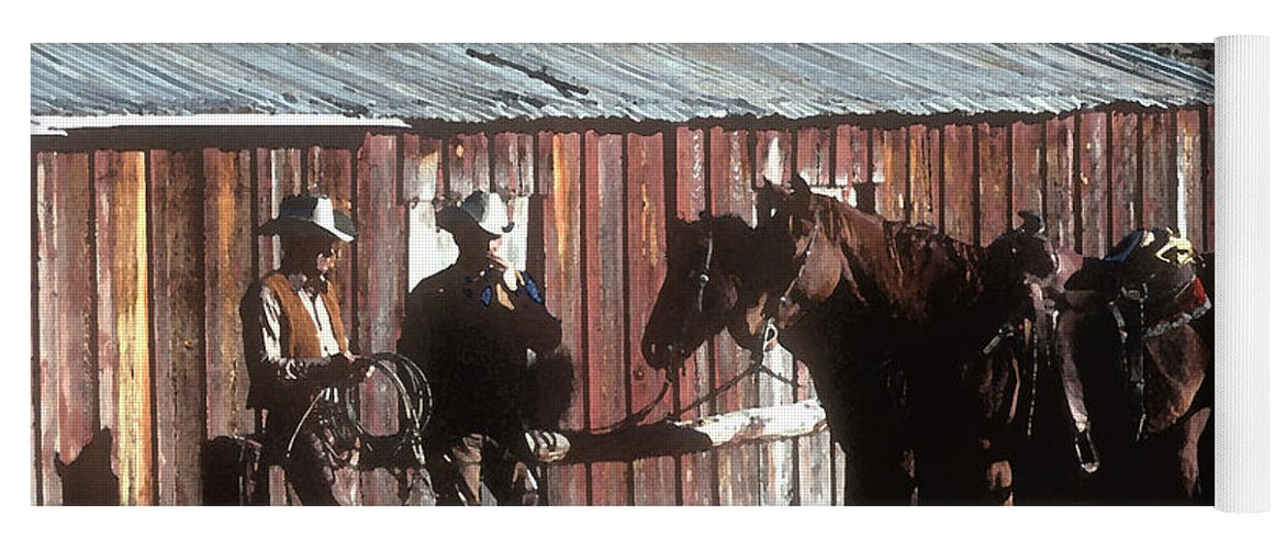 Cowboy Yoga Mat featuring the photograph Smoke Break by Jerry McElroy