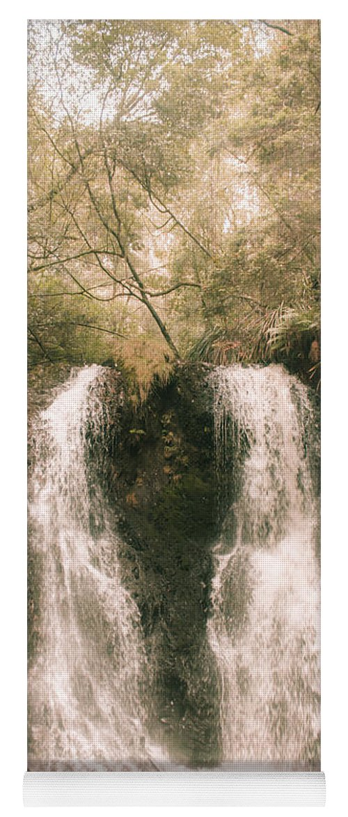 Waterfall Yoga Mat featuring the photograph Soft Vintage Forest Waterfall In Tasmania by Jorgo Photography - Wall Art Gallery
