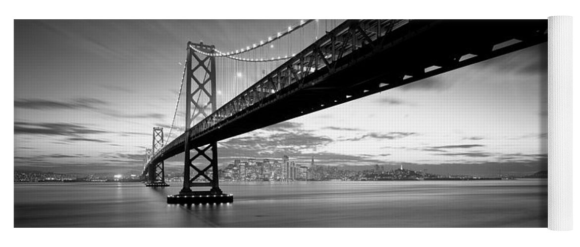 Photography Yoga Mat featuring the photograph Twilight, Bay Bridge, San Francisco by Panoramic Images