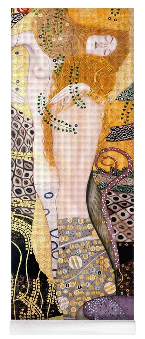 Gustav Klimt Yoga Mat featuring the painting Water Serpents I by Gustav Klimt