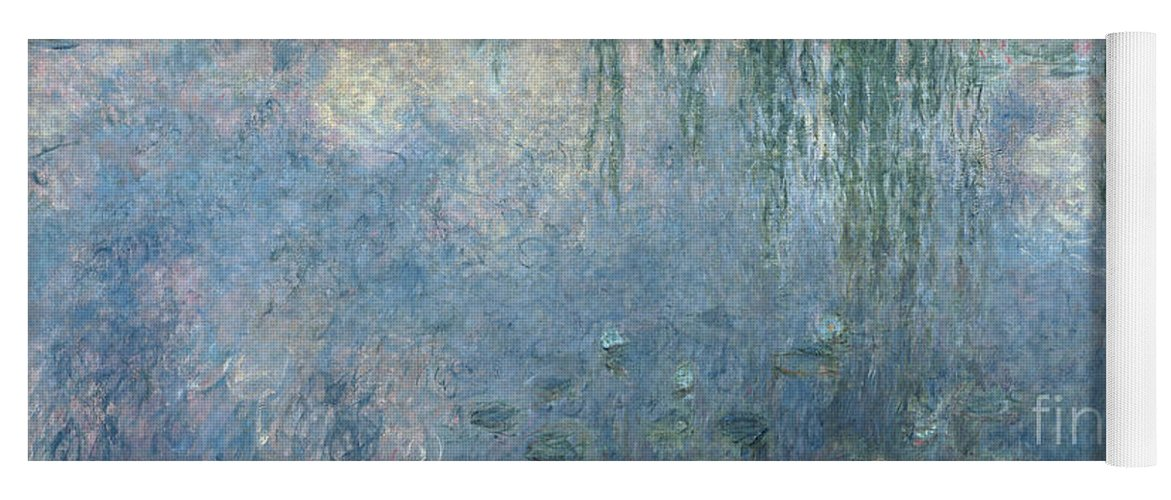 Blue Yoga Mat featuring the painting Waterlilies Morning with Weeping Willows by Claude Monet