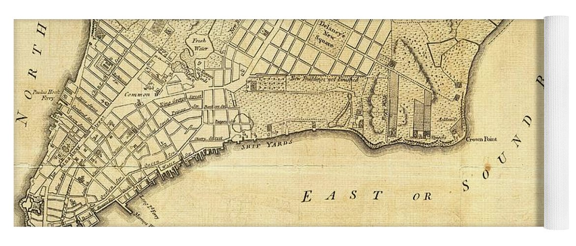 Map Of New York 1776.1776 New York City Map Yoga Mat