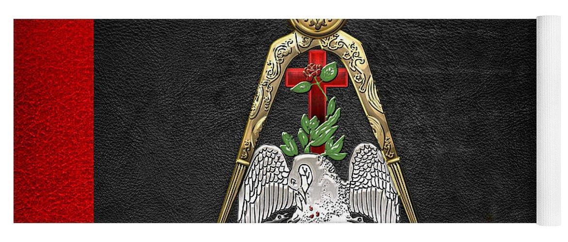 'ancient Brotherhoods' Collection By Serge Averbukh Yoga Mat featuring the digital art 18th Degree Mason - Knight Rose Croix Masonic Jewel by Serge Averbukh