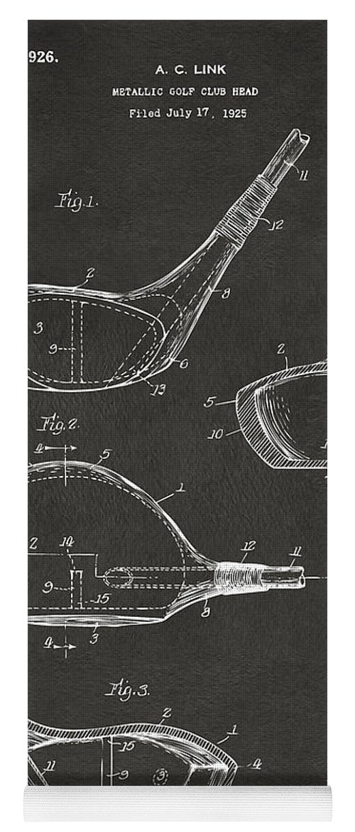 Golf Yoga Mat featuring the digital art 1926 Golf Club Patent Artwork - Gray by Nikki Marie Smith