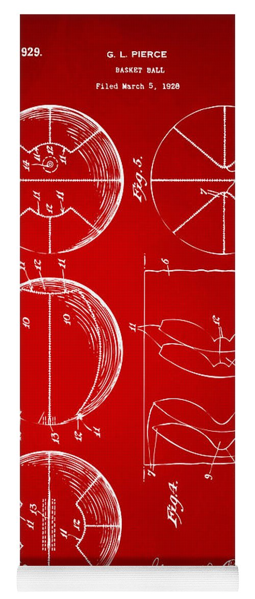 Basketball Yoga Mat featuring the digital art 1929 Basketball Patent Artwork - Red by Nikki Marie Smith