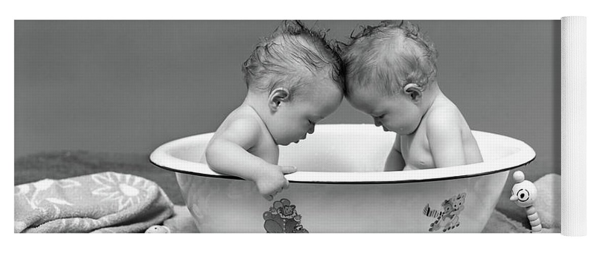 1930s two twin babies in bath tub yoga mat for salevintage images