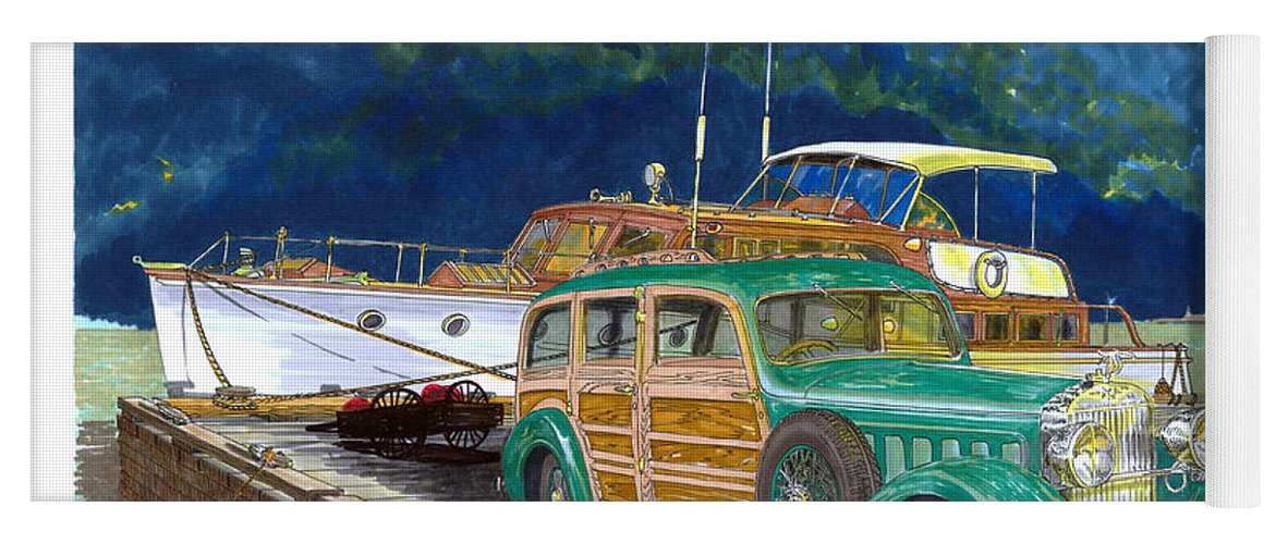 Classic Car Art Yoga Mat featuring the painting 1936 Hispano Suiza Shooting Brake by Jack Pumphrey