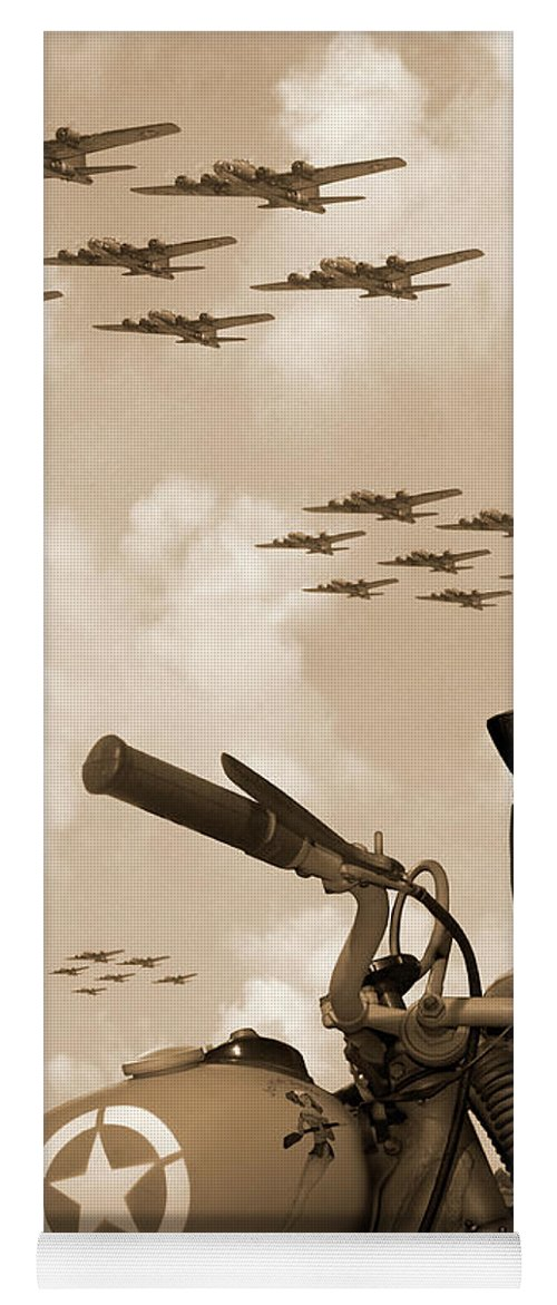 Warbirds Yoga Mat featuring the photograph 1942 Indian 841 - B-17 Flying Fortress' by Mike McGlothlen