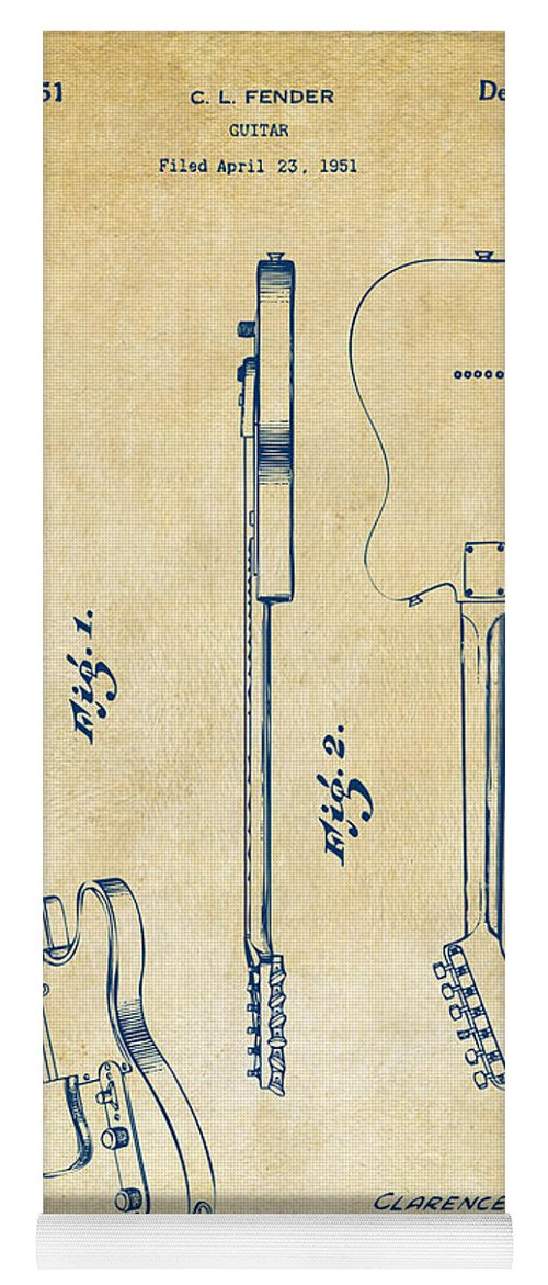Fender Guitar Yoga Mat featuring the digital art 1951 Fender Electric Guitar Patent Artwork - Vintage by Nikki Marie Smith