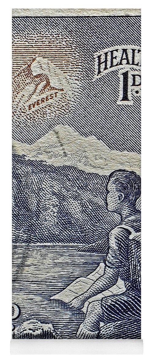 1954 Yoga Mat featuring the photograph 1954 Mount Aspiring New Zealand Stamp by Bill Owen