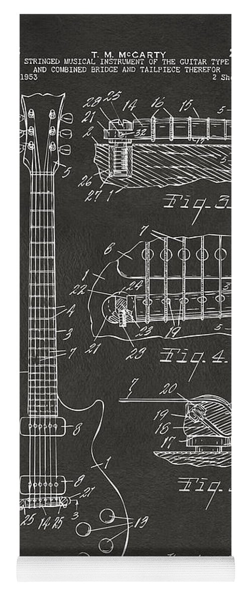 Guitar Yoga Mat featuring the digital art 1955 Mccarty Gibson Les Paul Guitar Patent Artwork - Gray by Nikki Marie Smith
