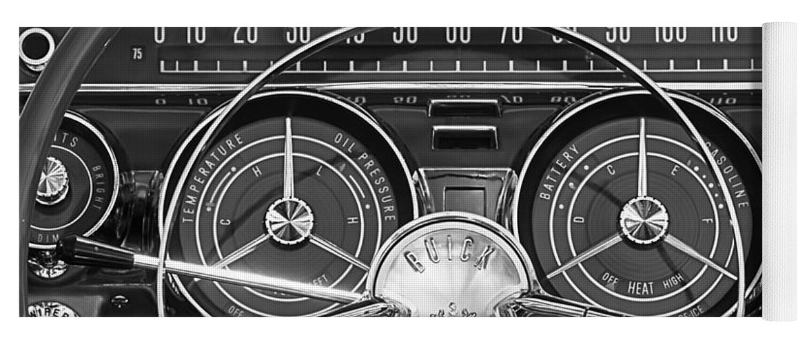 1959 Buick Lesabre Yoga Mat featuring the photograph 1959 Buick Lasabre Steering Wheel by Jill Reger
