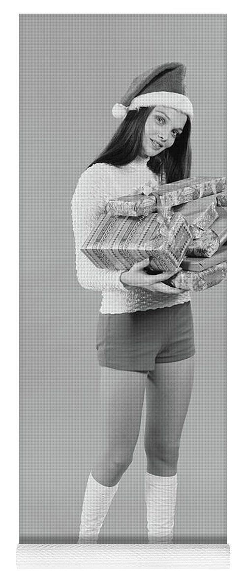 Photography Yoga Mat featuring the photograph 1960s 1970s Young Woman Wearing Santa by Vintage Images
