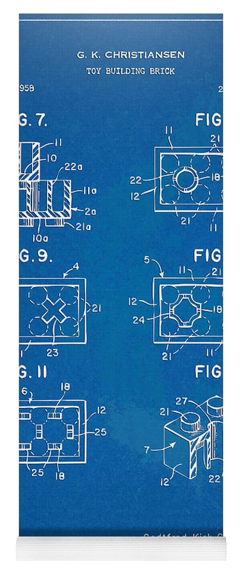 1961 lego brick patent artwork blueprint yoga mat for sale by toy yoga mat featuring the digital art 1961 lego brick patent artwork blueprint by nikki malvernweather Gallery