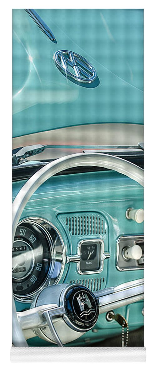 1962 Volkswagen Vw Beetle Cabriolet Steering Wheel Yoga Mat featuring the photograph 1962 Volkswagen Vw Beetle Cabriolet Steering Wheel by Jill Reger