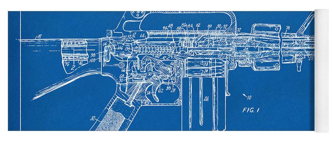 1966 m 16 gun patent blueprint yoga mat for sale by nikki marie smith m 16 yoga mat featuring the digital art 1966 m 16 gun patent blueprint malvernweather Choice Image