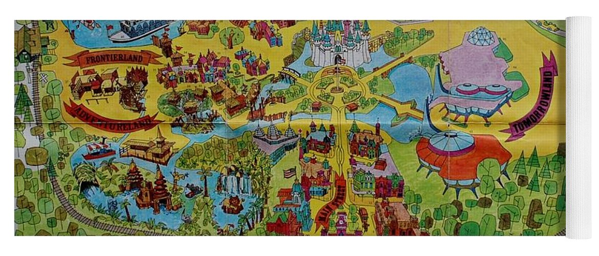 1971 Original Map Of The Magic Kingdom Yoga Mat For Sale By Rob Hans