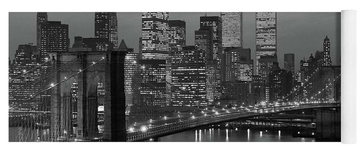 Photography Yoga Mat featuring the photograph 1980s New York City Lower Manhattan by Vintage Images