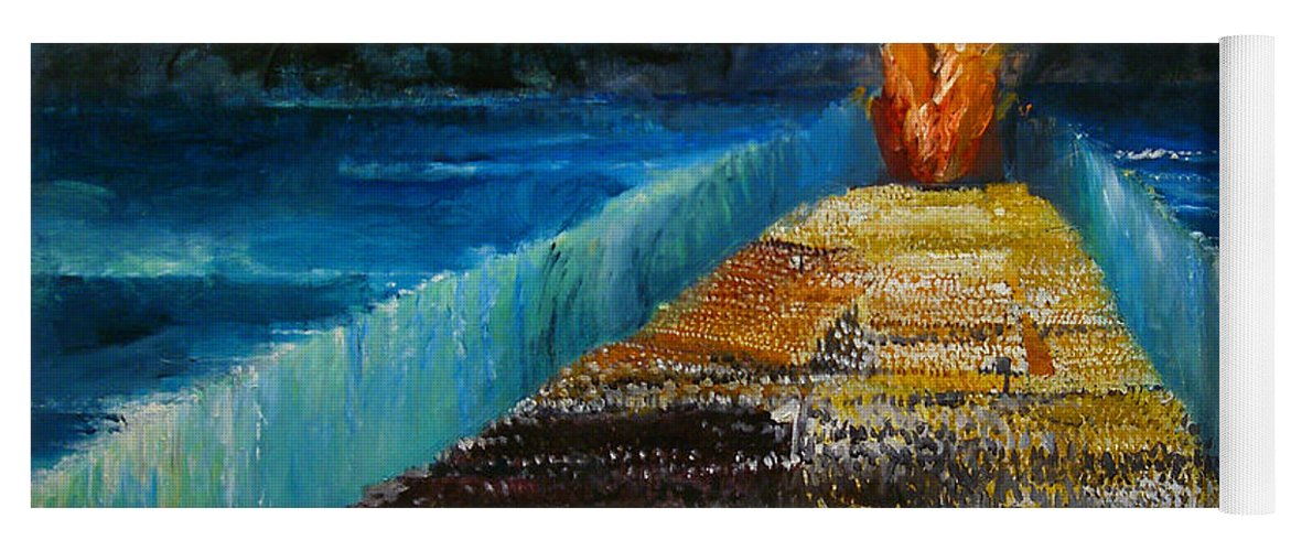 Moses Parting The Red Sea; Miracle; Divine Intervention; Leading Israelites To Freedom; Escape; Escaping; Egypt; Pharaoh; Biblical; Walls; Water; Flame; Procession; Fleeing; Jewish Yoga Mat featuring the painting Exodus by Richard Mcbee