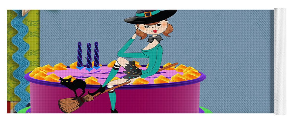 Happy Birthday Card Yoga Mat Featuring The Digital Art Witch By Liane Wright