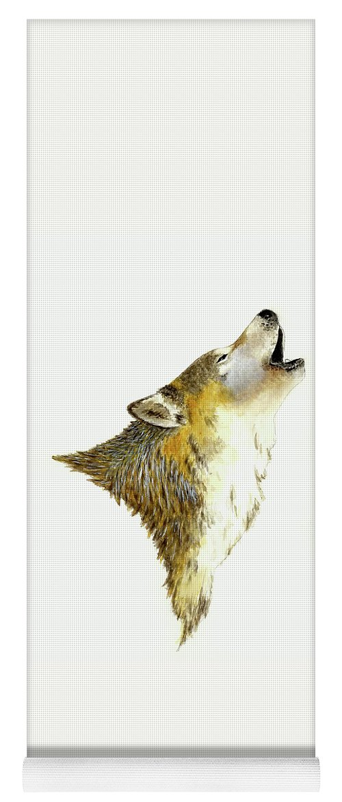Animals Yoga Mat featuring the painting Howling Wolf by Michael Vigliotti