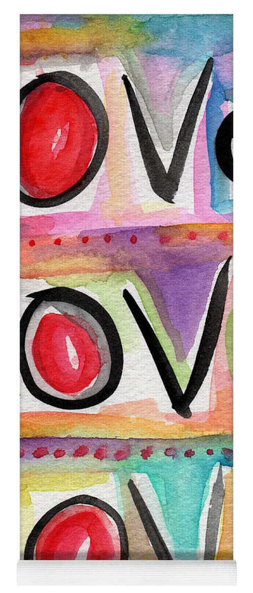 Love Yoga Mat featuring the mixed media Love by Linda Woods