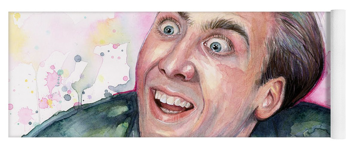 Nic Cage Yoga Mat featuring the painting Nicolas Cage You Don't Say Watercolor Portrait by Olga Shvartsur