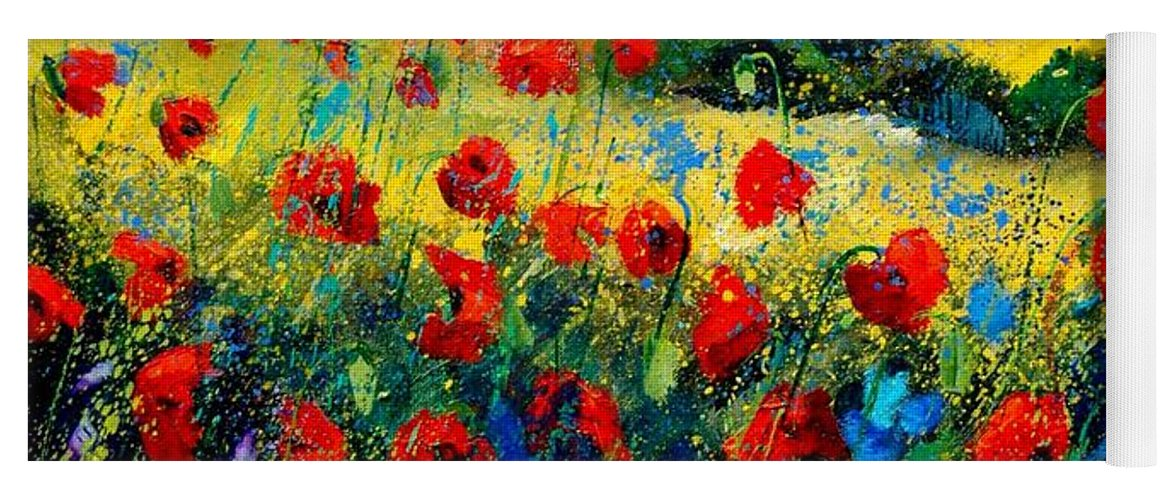 Flowersn Landscape Yoga Mat featuring the painting Poppies in Tuscany by Pol Ledent