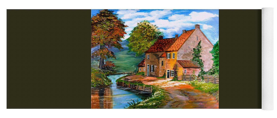 Landscape Yoga Mat featuring the painting River House by Kenneth LePoidevin